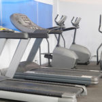 Treadmills in a fitness hall